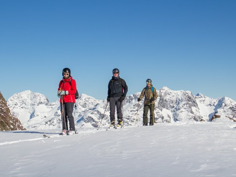 3 people on skis on a 3 Day Backcountry Skiing trip