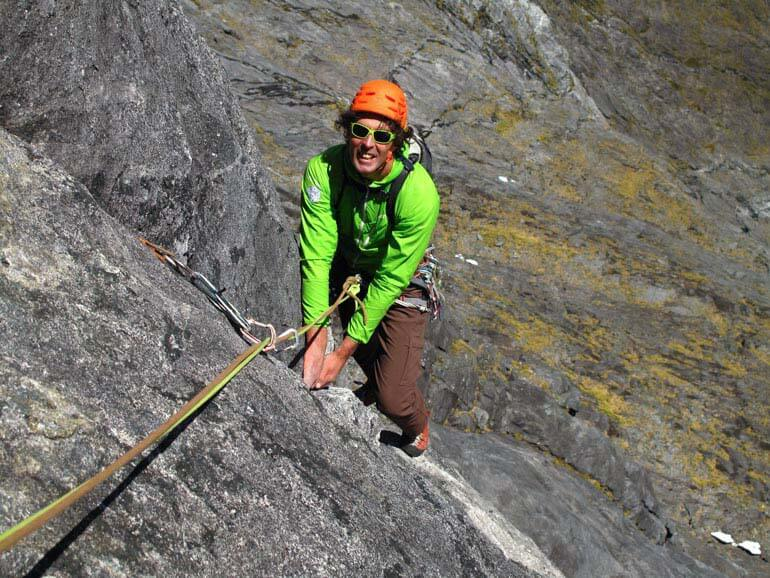 Climbing perfect granite in the Darran mountains, New Zealand