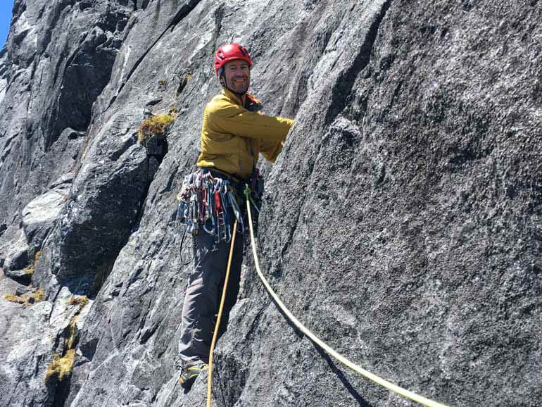 Climbing on the west face of Moirs Mate