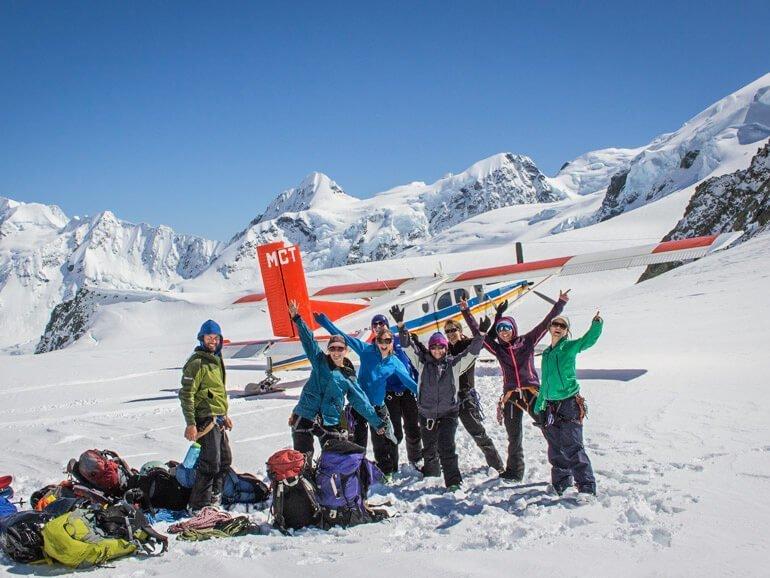Ski plane accessed ski touring Tasman glacier