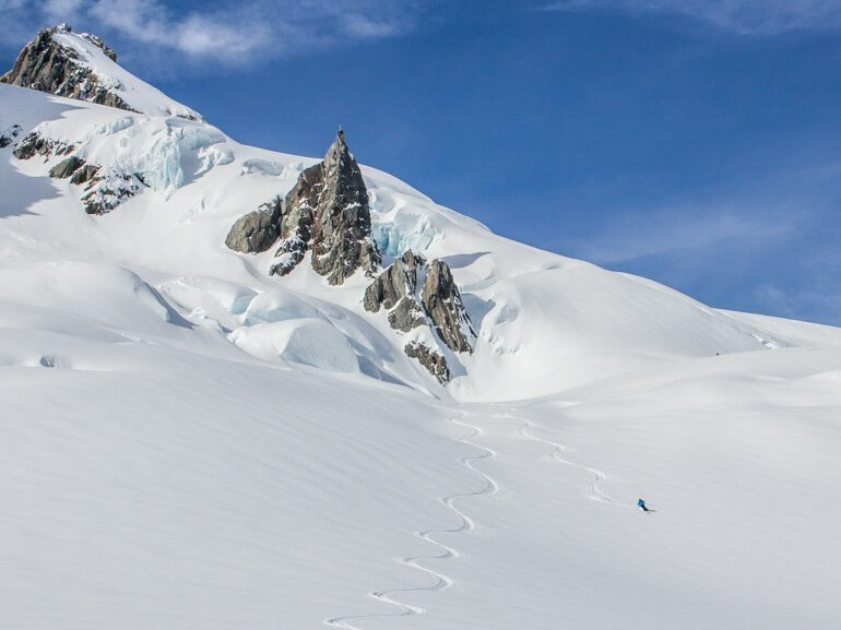Powder skiing on the glacier Mt Cook