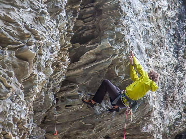 Lead climbing on steep rock, Harolds Wall, Wye Creek, Queenstown