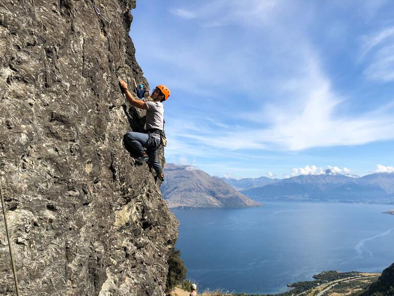 Rock climbing Wye Creek Queenstown with views of Lake Wakatipu