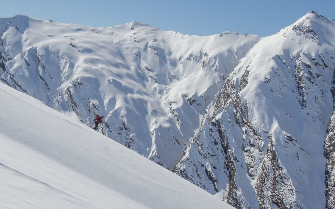Helicopter access ski touring