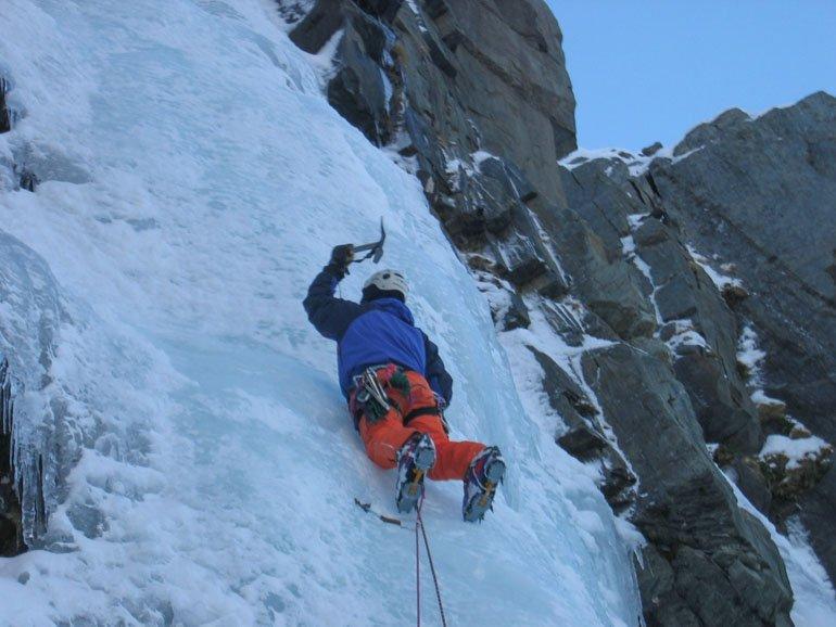Steep ice climbing